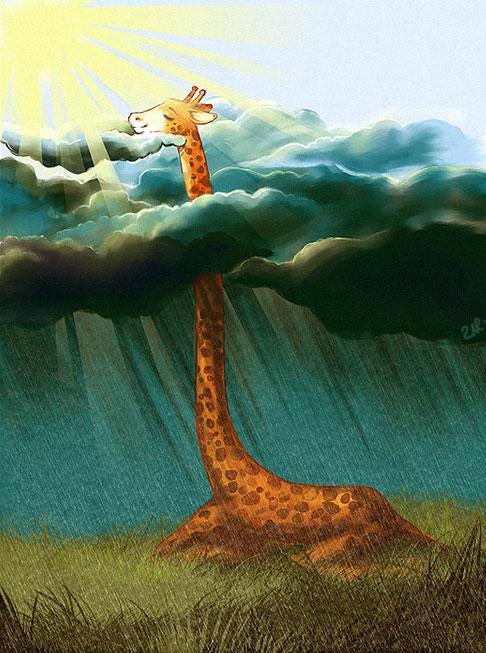 Felhők fölött sütkérező zsiráf