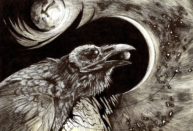 Fekete holló, csőrében a nappal, háttérben a holddal.