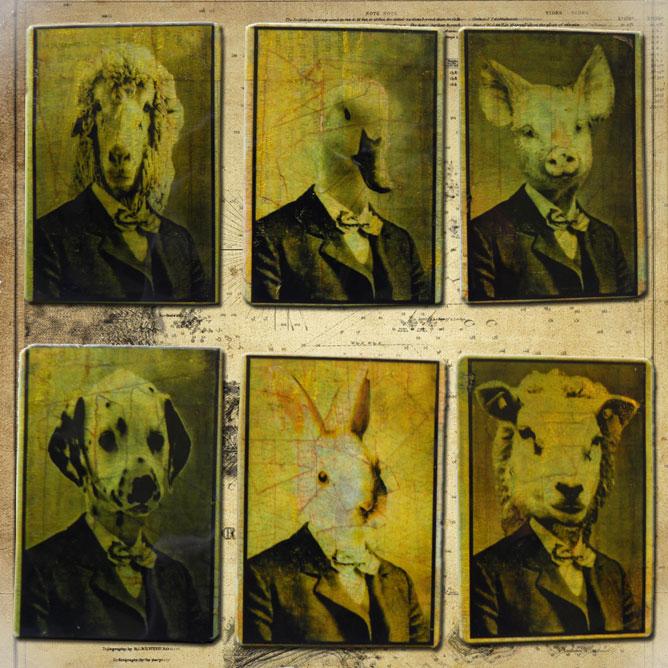 Állatfejű emberek: bárány, liba, disznó, nyúl, kutya, kecske
