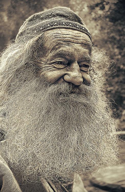 Öreg ember egy öreg fotón