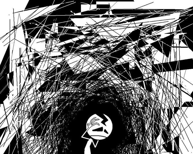 Túl sok fel nem dolgozott információ megfájdítja a fejet, fekete-fehér rajz egy fejét fogó kisemberről.