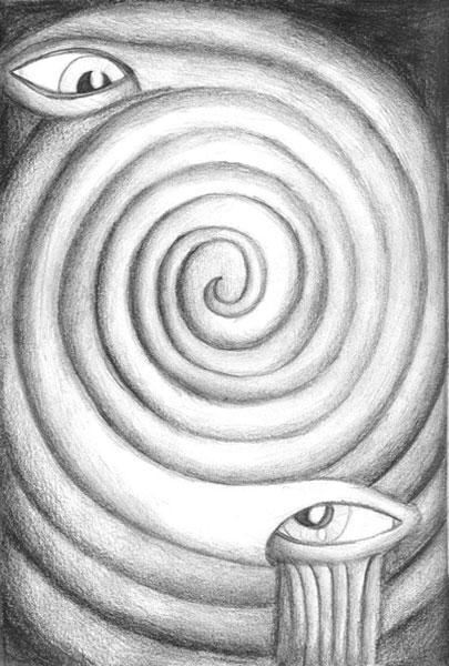 Végtelen spirál peremén egymást figyelő szemek