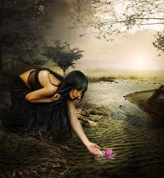 Kis patak ami a fény felé folydogál; fiatal lány lótuszvirágot enged szabadjára a víz felszínén.