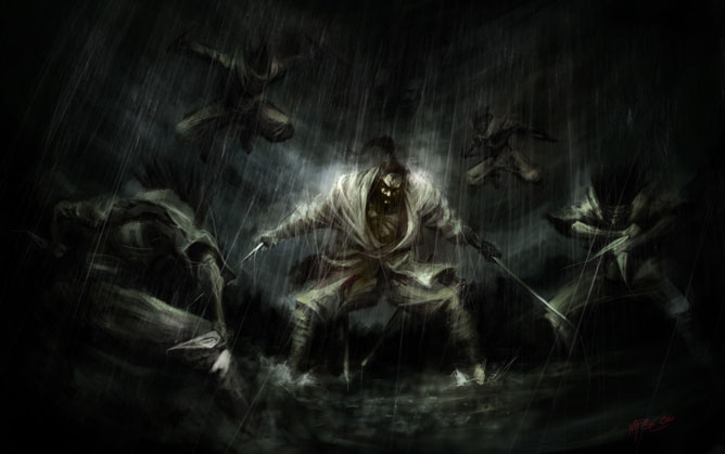 Agresszív szamuráj két kardal a kezében, körülötte támadó ninják és harcosok