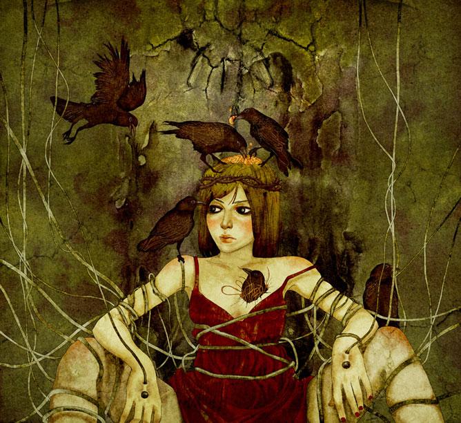 Varjak kieszik egy lány agyát és szívét; a világ elektromos kábelei behálózzák a testét.