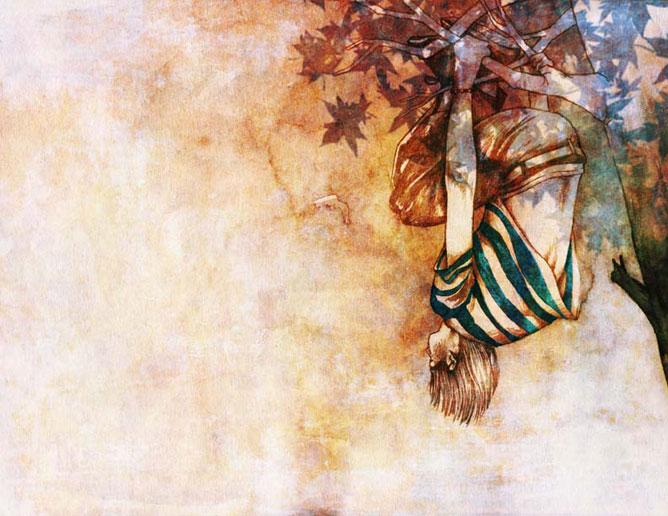A fáról fejjel lefelé lógó fiú akinek a tekintete a távolba mered.