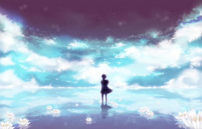 A végtelen óceán közepén álló kislány, lótuszvirágokkal körülötte.