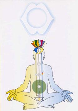 Az emberi test csakráinak elhelyezkedés.