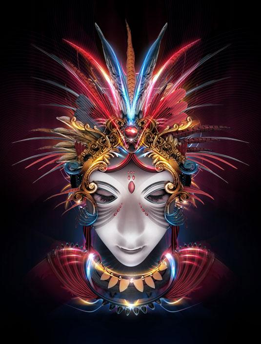 Színes, díszes maszkos sámán.