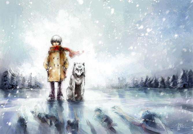 Tó jegén álló kisfiú farkassal mellette és démonokkal, szellemekkel alatta.