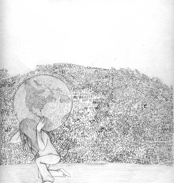 Rajz. A földgömböt a hátán hordó lány.
