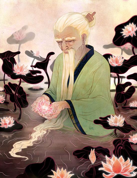 Hosszú fehér szakállú mester lótuszvirágokkal a tóban.
