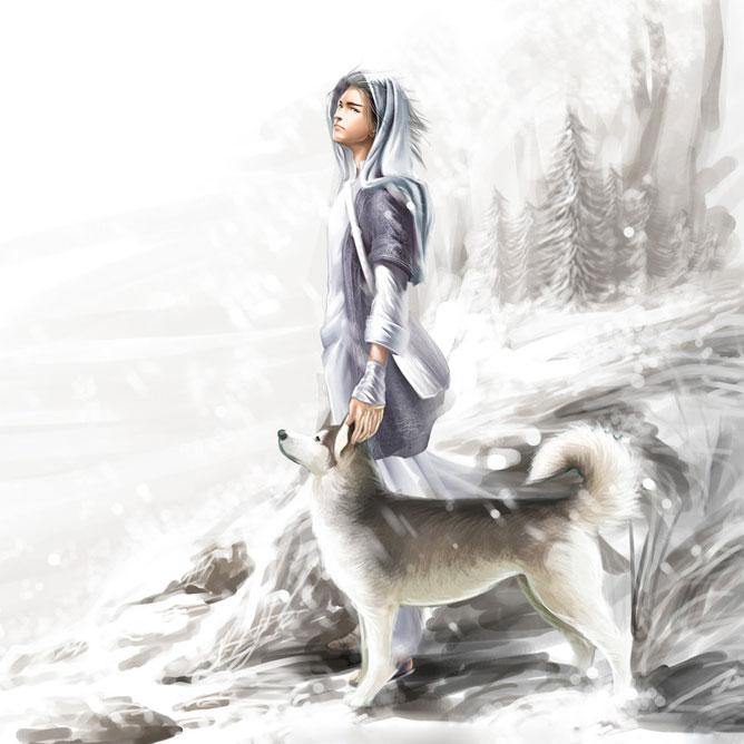 Férfi a farkasával a havas tájon.