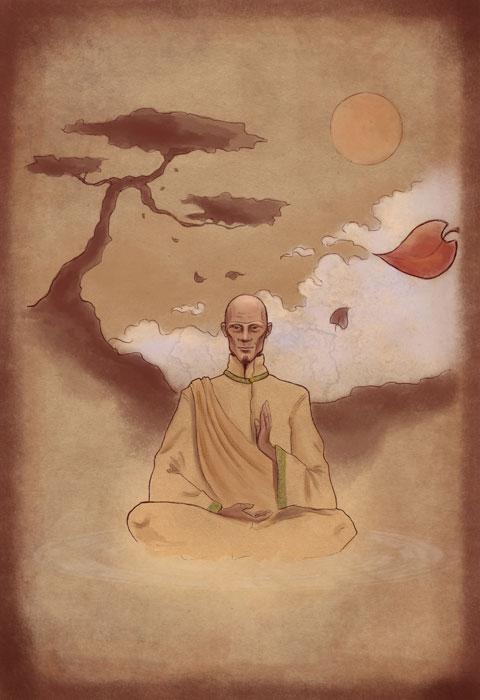 Meditáló mester.