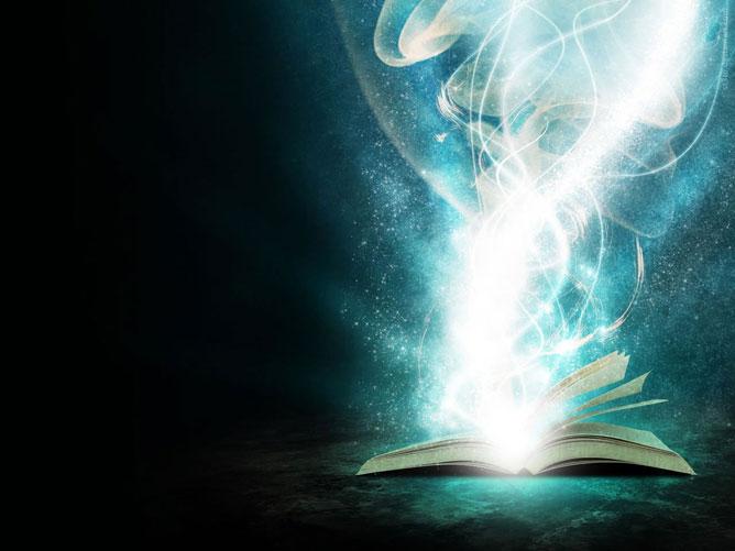 Egy nyitott mágikus könyv.