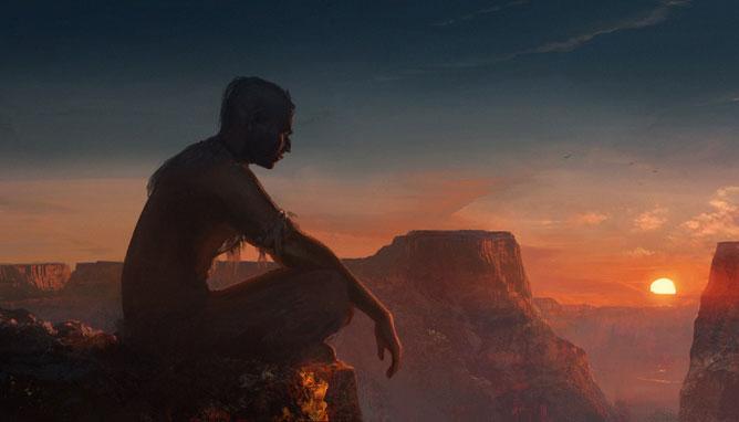 Indián ül a szikla szélén a lemenő nap fényében. Grand Canyon.