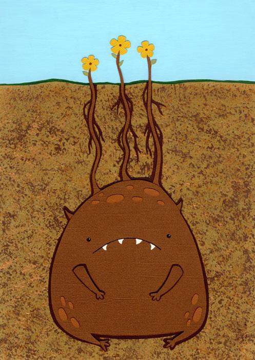 Föld alatti lény fejéből kinövő virágok.
