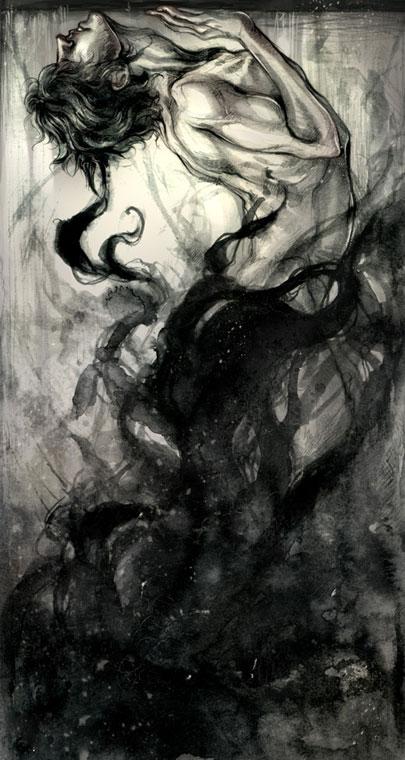 A gyűlölet mindent felemésztő feketesége; absztrakt rajz.