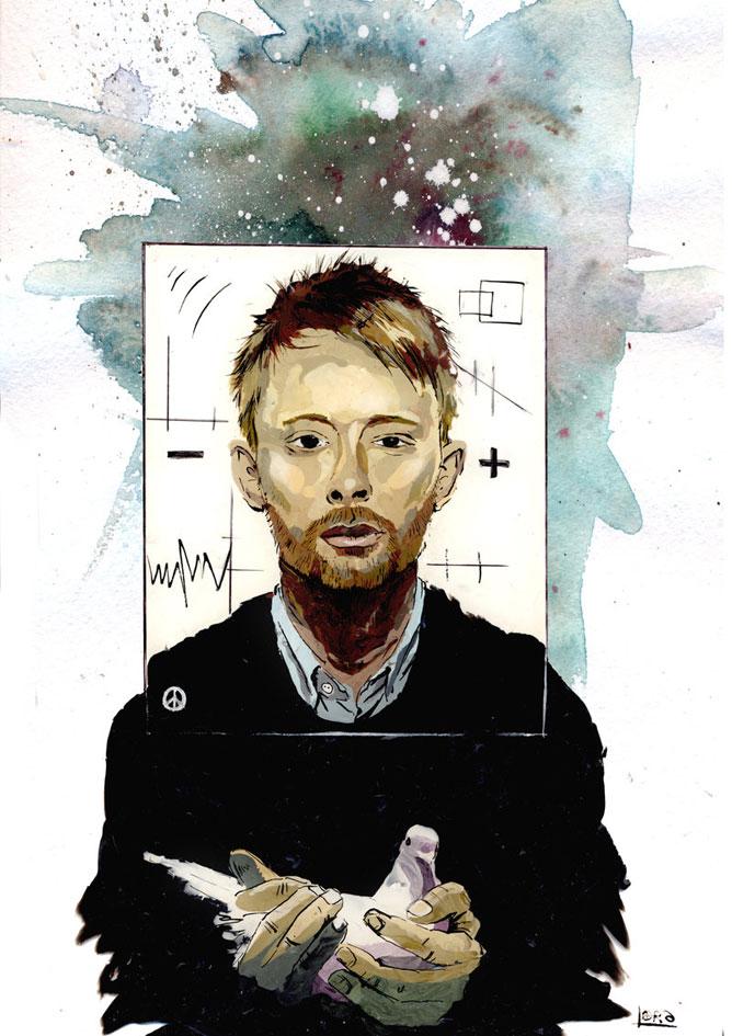 Radiohead - Thom Yorke - karikatúra