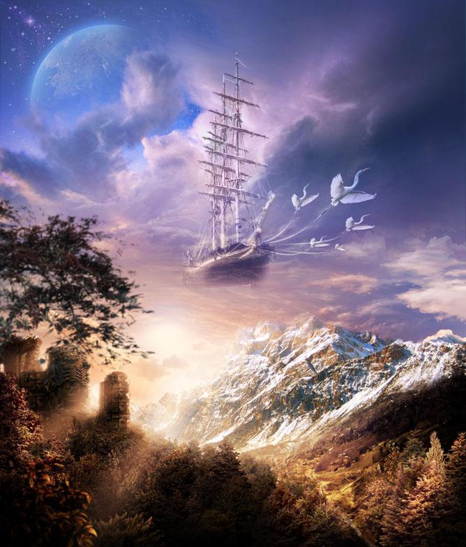 Repülő hajó egy álomképben.