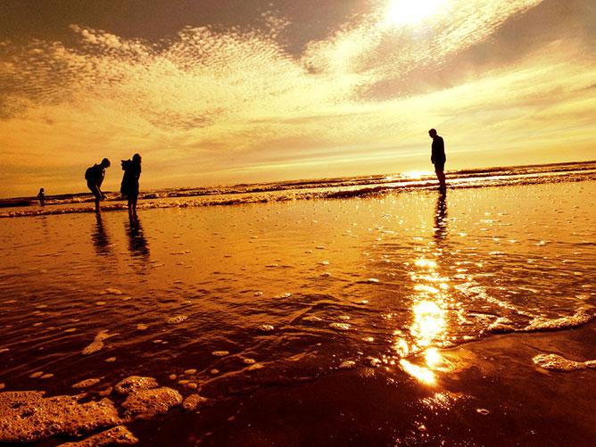 Aranyló tengerparti naplemente.