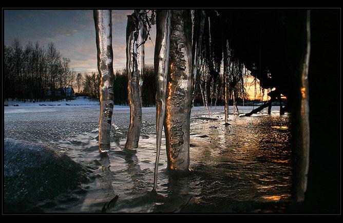 olvadó jégcsapok.