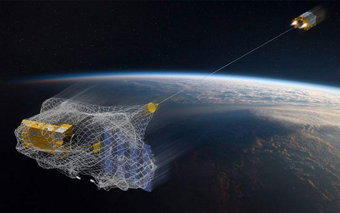 űrszemetet összeszedő háló.